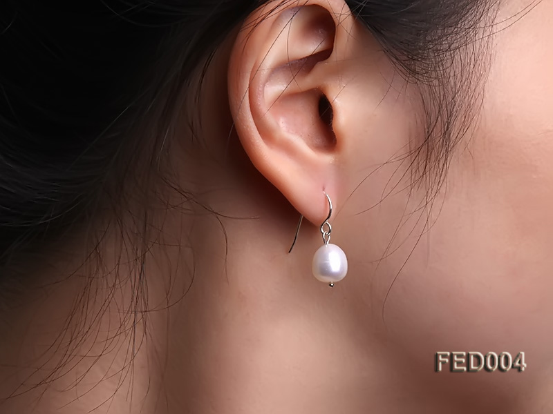 8-9mm White Drop-shaped Freshwater Pearl Earring big Image 1