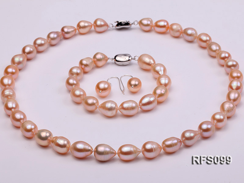 9-10mm Pink Rice-shaped Freshwater Pearl Necklace, Bracelet and earrings Set big Image 1