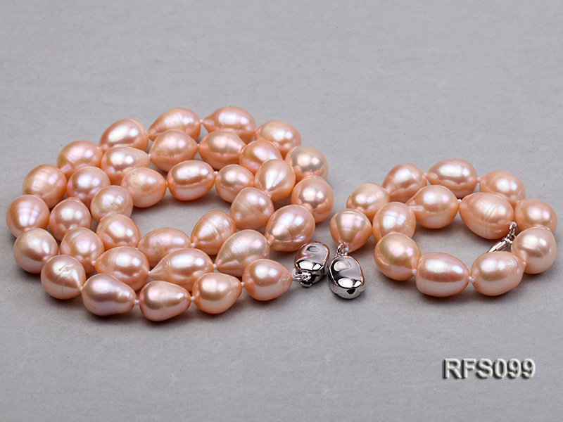 9-10mm Pink Rice-shaped Freshwater Pearl Necklace, Bracelet and earrings Set big Image 4