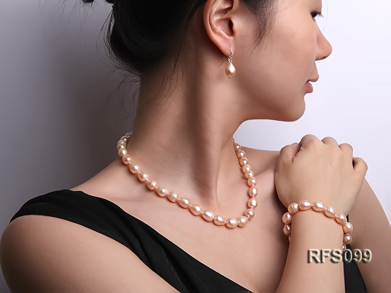 9-10mm Pink Rice-shaped Freshwater Pearl Necklace, Bracelet and earrings Set big Image 12
