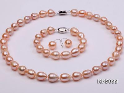 9-10mm Pink Rice-shaped Freshwater Pearl Necklace, Bracelet and earrings Set RFS099 Image 1