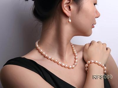 9-10mm Pink Rice-shaped Freshwater Pearl Necklace, Bracelet and earrings Set RFS099 Image 12