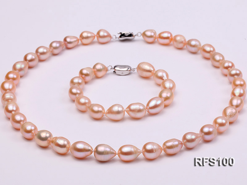 9-10mm Pink Rice-shaped Freshwater Pearl Necklace and Bracelet Set big Image 2
