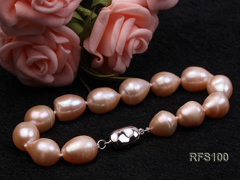 9-10mm Pink Rice-shaped Freshwater Pearl Necklace and Bracelet Set big Image 5