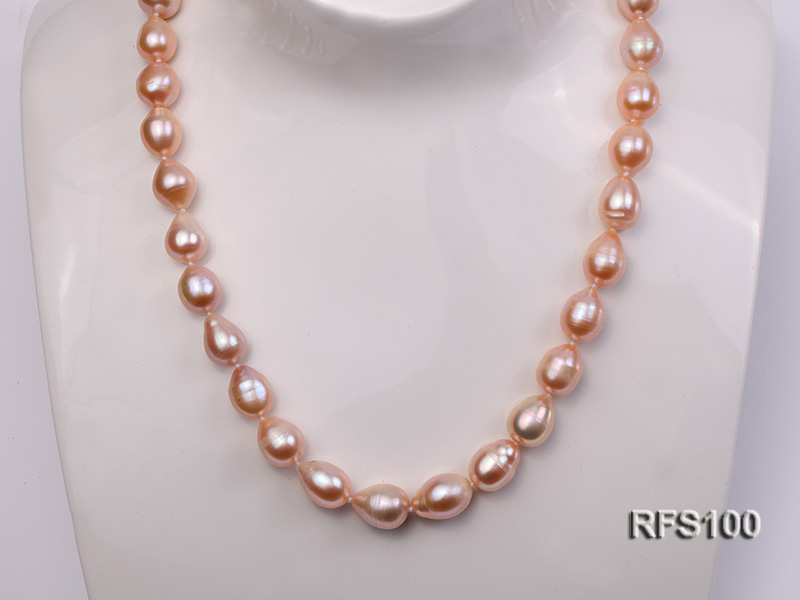 9-10mm Pink Rice-shaped Freshwater Pearl Necklace and Bracelet Set big Image 9