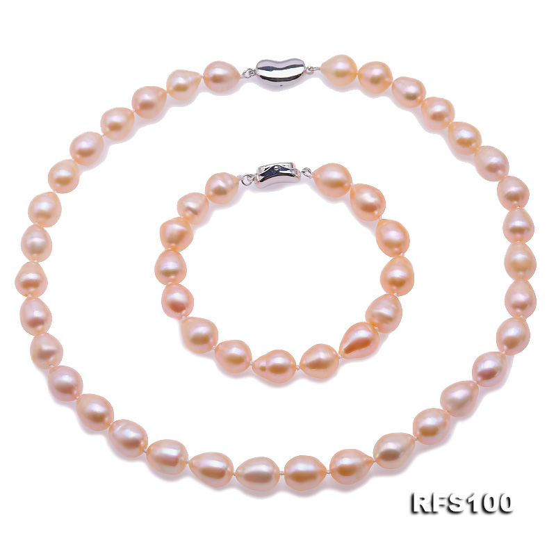 9-10mm Pink Rice-shaped Freshwater Pearl Necklace and Bracelet Set big Image 1