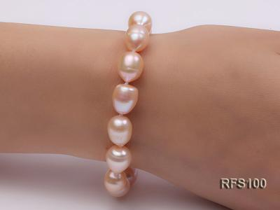 9-10mm Pink Rice-shaped Freshwater Pearl Necklace and Bracelet Set RFS100 Image 3