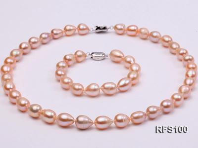 9-10mm Pink Rice-shaped Freshwater Pearl Necklace and Bracelet Set RFS100 Image 2