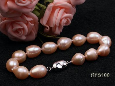 9-10mm Pink Rice-shaped Freshwater Pearl Necklace and Bracelet Set RFS100 Image 5