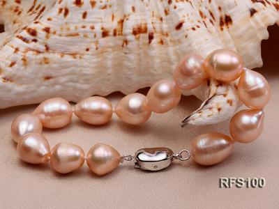 9-10mm Pink Rice-shaped Freshwater Pearl Necklace and Bracelet Set RFS100 Image 8