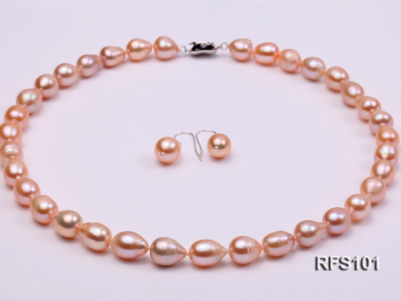 9-10mm Pink Rice-shaped Freshwater Pearl Necklace and earrings Set big Image 1