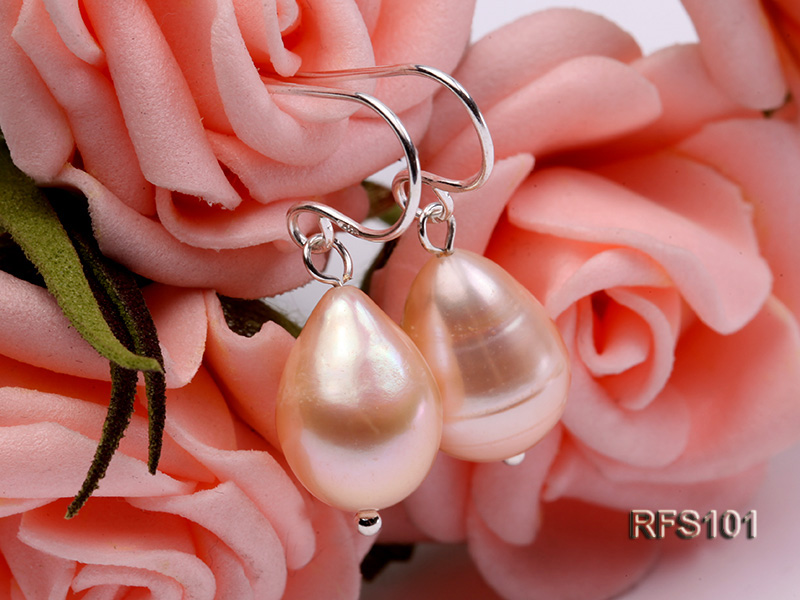 9-10mm Pink Rice-shaped Freshwater Pearl Necklace and earrings Set big Image 3