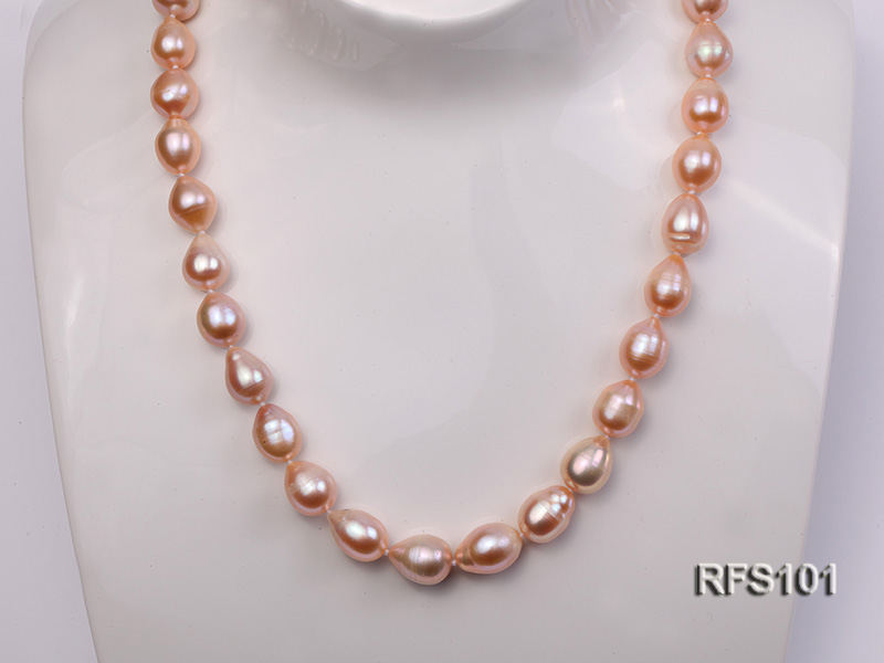 9-10mm Pink Rice-shaped Freshwater Pearl Necklace and earrings Set big Image 7
