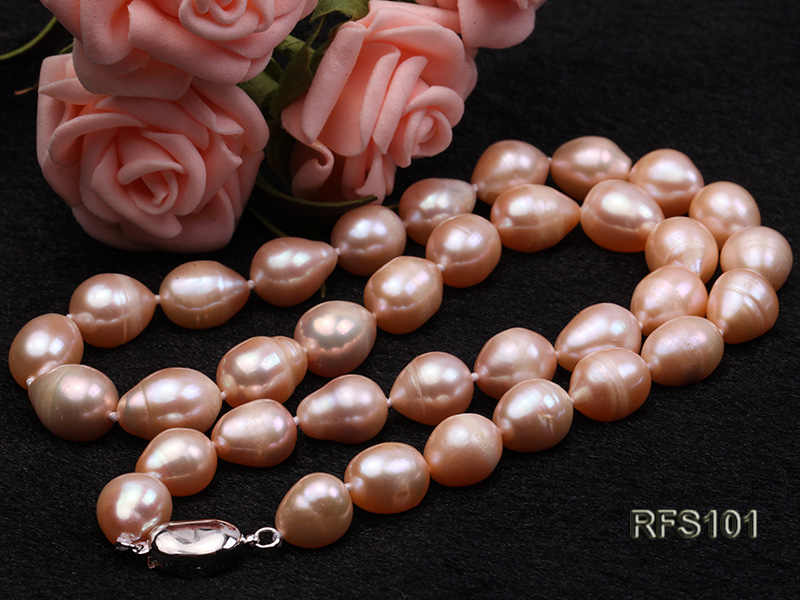 9-10mm Pink Rice-shaped Freshwater Pearl Necklace and earrings Set big Image 10