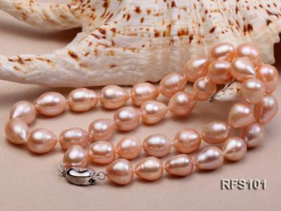 9-10mm Pink Rice-shaped Freshwater Pearl Necklace and earrings Set RFS101 Image 5
