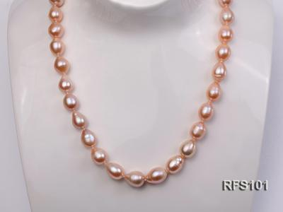 9-10mm Pink Rice-shaped Freshwater Pearl Necklace and earrings Set RFS101 Image 7