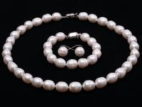 10-11mm White Rice-shaped Freshwater Pearl Necklace, Bracelet and earrings Set RFS117
