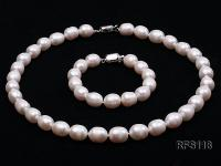 10-11mm White Rice-shaped Freshwater Pearl Necklace and Bracelet Set RFS118