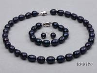 10-11mm Black Rice-shaped Freshwater Pearl Necklace, Bracelet and earrings Set RFS120