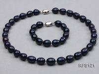 10-11mm Black Rice-shaped Freshwater Pearl Necklace and Bracelet Set RFS121