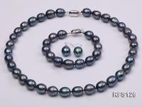 10-11mm Black Rice-shaped Freshwater Pearl Necklace, Bracelet and earrings set RFS126