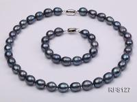 10-11mm Black Rice-shaped Freshwater Pearl Necklace and Bracelet Set RFS127