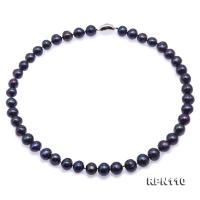 Quality 10-11mm Black Round Freshwater Pearl Necklace RPN110