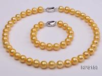 11-12mm AAA yellow round freshwater pearl necklace and bracelet set RPS158