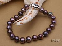 7.5mm AAA purplish black round freshwater pearl bracelet HC357