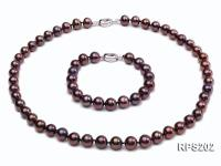 9-10mm AAA round freshwater pearl necklace and bracelet set RPS202
