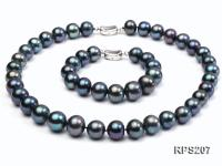 12-13mm round freshwater pearl necklace and bracelet set RPS207