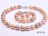 13-14mm Multicolor round freshwater pearl necklace,bracelet and earring set RPS216