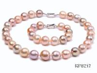13-14mm Multicolor round freshwater pearl necklace and bracelet RPS217