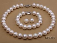 13-14mm AAA round freshwater pearl necklace,bracelet and earring set RPS214