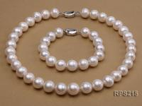 13-14mm AAA white round freshwater pearl necklace and bracelet RPS215