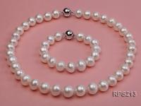 12-13mm white round freshwater pearl necklace and bracelet set RPS213