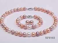 10-11mm AA round freshwater pearl necklace,bracelet and earring set RPS193