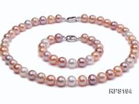 10-11mm white pink and lavender round freshwater pearl necklace and bracelet set RPS194