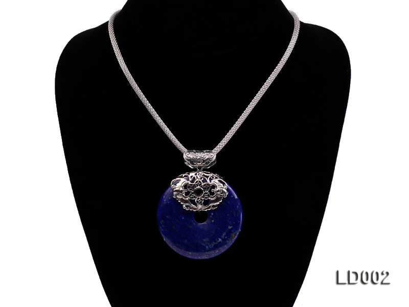 Azure Blue Lapis Lazuli Pendant with Sterling Silver Fitting big Image 4