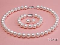 10-11mm  round freshwater pearl necklace,bracelet and earring set RPS195