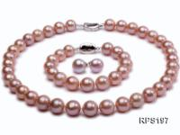 11-13mm Pink round Edison Pearl  necklace,bracelet and earring set RPS197