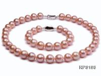 11-13mm PInk round Edison Pearl  necklace bracelet set RPS198