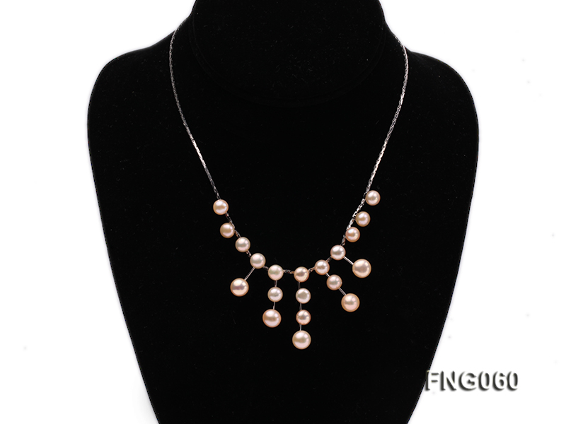 8.5mm Pink Freshwater Pearl on a Gold Plated Chain Necklace big Image 1