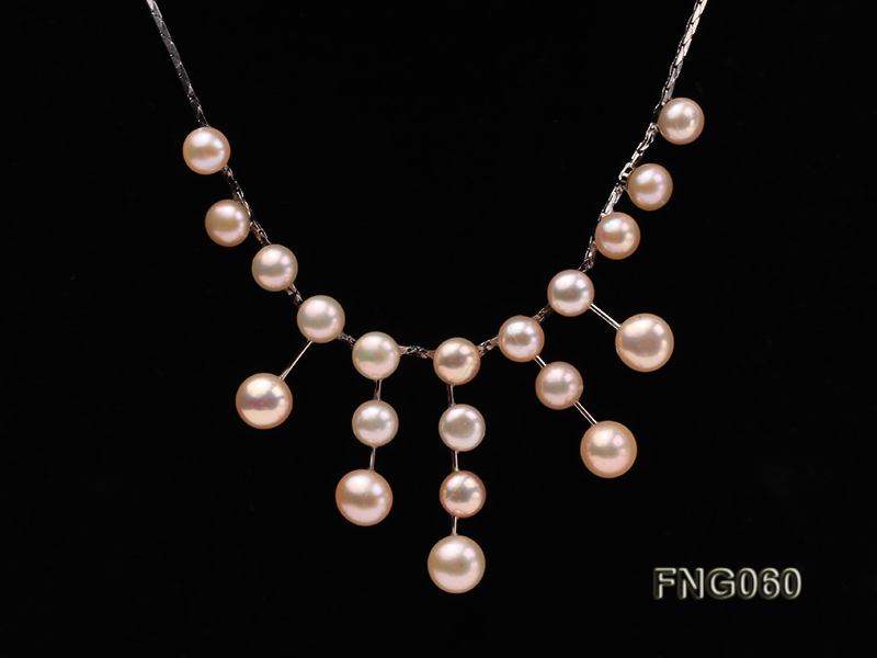 8.5mm Pink Freshwater Pearl on a Gold Plated Chain Necklace big Image 2