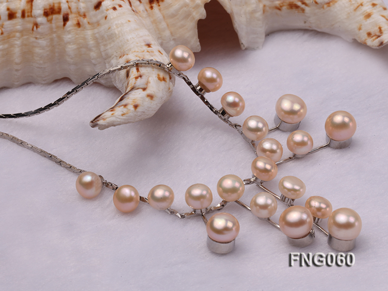 8.5mm Pink Freshwater Pearl on a Gold Plated Chain Necklace big Image 3