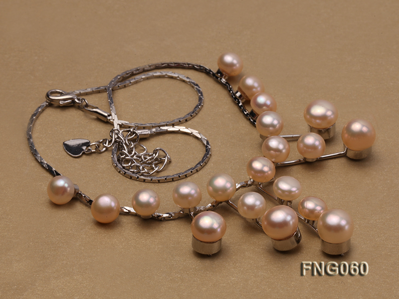 8.5mm Pink Freshwater Pearl on a Gold Plated Chain Necklace big Image 4