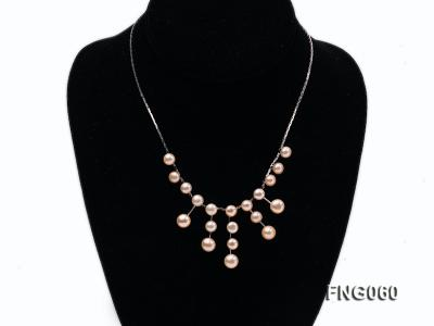 8.5mm Pink Freshwater Pearl on a Gold Plated Chain Necklace FNG060 Image 1