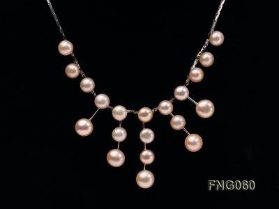 8.5mm Pink Freshwater Pearl on a Gold Plated Chain Necklace FNG060 Image 2