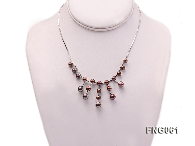 8.5mm Purple Freshwater Pearl on a Gold Plated Chain Necklace big Image 1