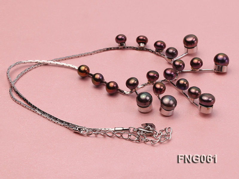 8.5mm Purple Freshwater Pearl on a Gold Plated Chain Necklace big Image 3